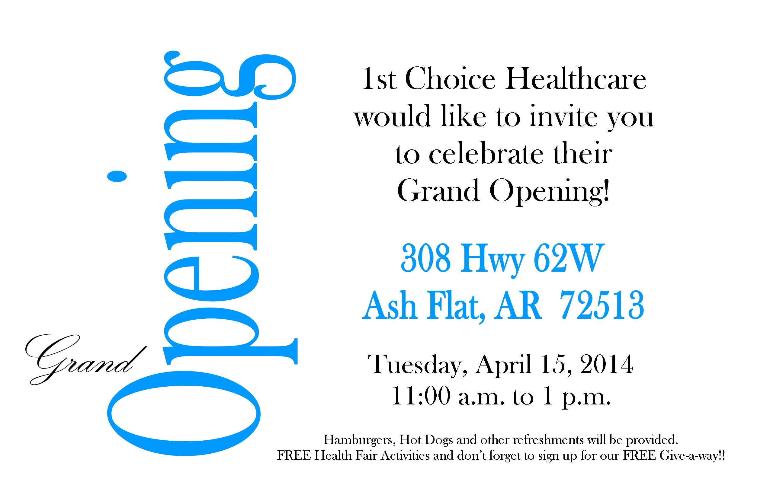 Af Grand Opening Single Invitation 1st Choice Healthcare